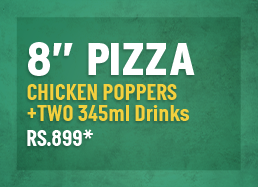"8"" Classic Pizza + Chicken Poppers + 2 Small Drinks"